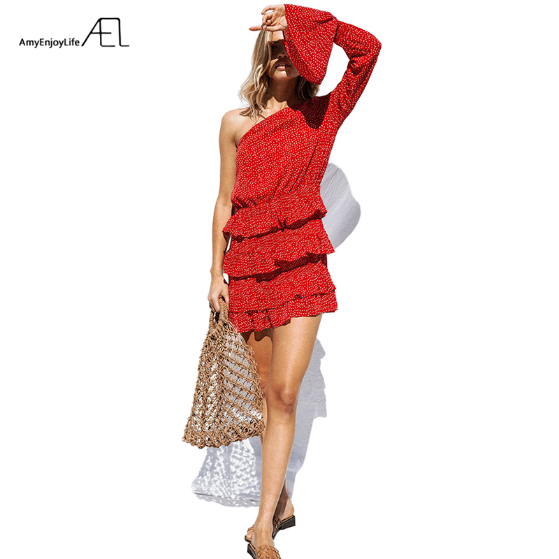 AEL Sexy Polka Dot Imprimer Ruches Robe Femmes 2019 Mode Off Épaule Manches Longues Dames Robes Casual Robes Mujer