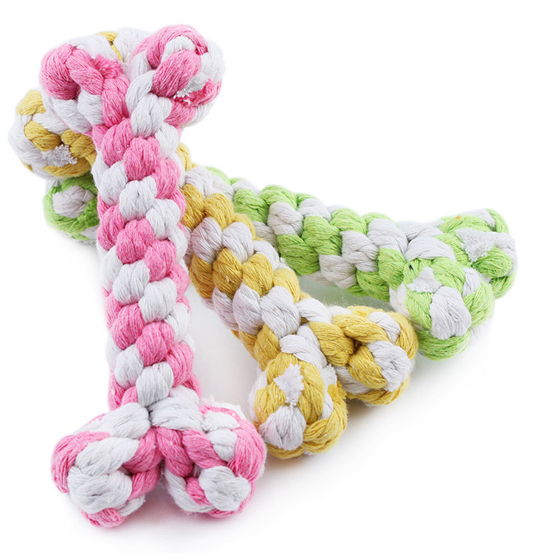 1PCS Cute Pet Play Cutton Rope Weaving Toys Puppy Bite Training Funny Bone Shaped Pink Yellow Dog Chew Toy Small Dogs Supplies