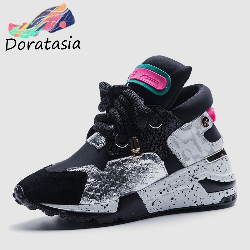 DORATASIA 2019 New INS Hot Patchwork Genuine   Leather     Suede   Sneakers Women Spring Running Dad Shoes Women Shoes Woman 35-42