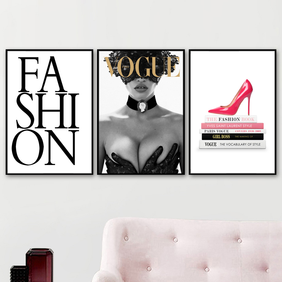 Vogue Sexy Girl High Book Heels Wall Art Canvas Painting Fashion Nordic Posters And Prints Wall Pictures For Living Room Decor in Painting Calligraphy from Home Garden