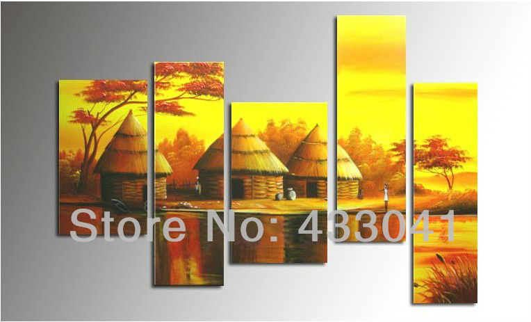 Hand Painted Modern Abstract Yellow African Tribal Ethnic Art ...