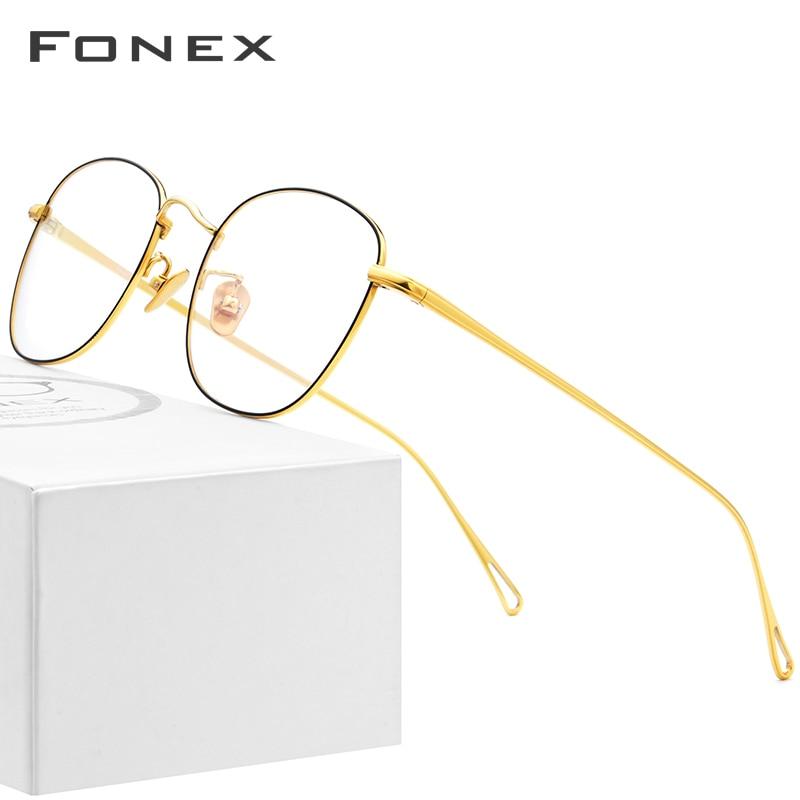 FONEX Pure B Titanium Glasses Frame Women Ultralight Retro Prescription Eyeglasses Men Spectacles Myopia Optical Eyewear