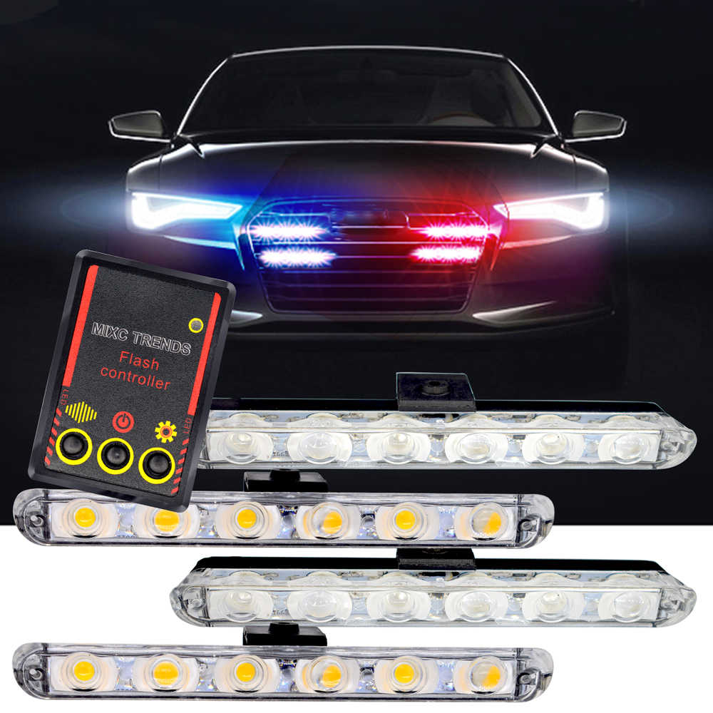 1Set DC 12V Car Truck Emergency Light 4X6 Led Flashing Firemen Lights Car-Styling Ambulance Police Light Strobe Warning Light