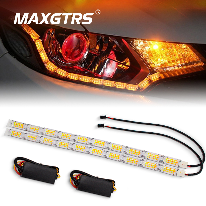 2x Daytime Running Light Car Flexible DRL White/Amber Switchback LED Strip Headlight Sequential Flow Turn Signal Waterproof