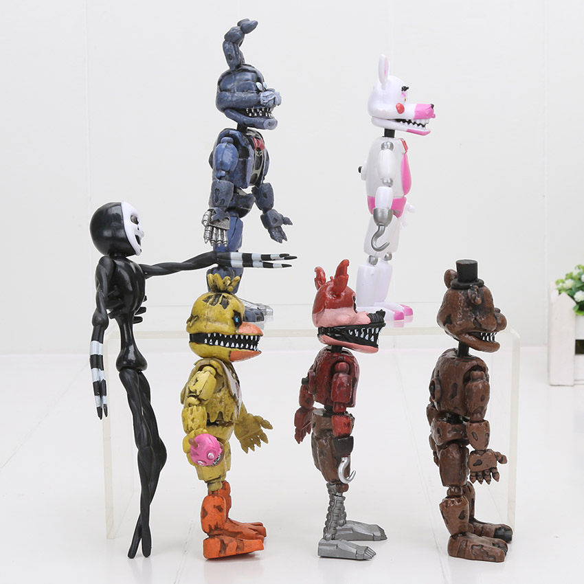 6Pcs//set Five Nights At Freddy/'s Action Figure LED Lightening Movable joints Toy