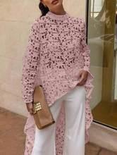2021 outono moda feminina elegante casual retalhos flounded dip hem topo crochê irregular oco para fora ver através blusa