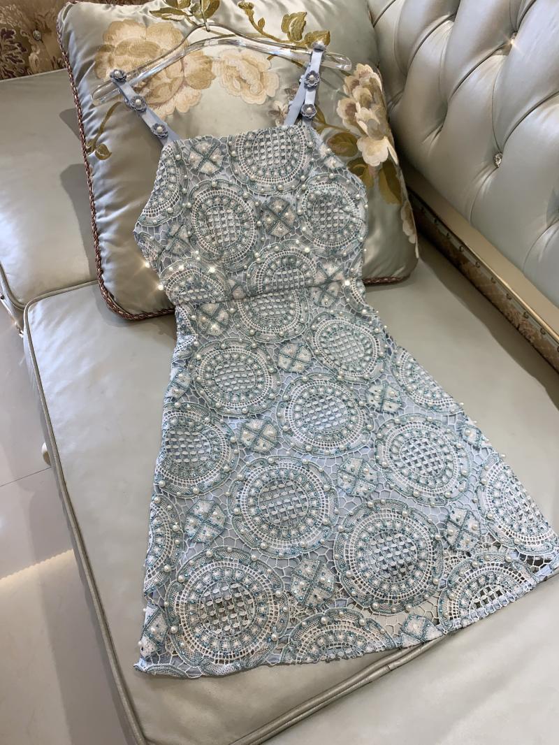 De Gamme Robe Femmes Luxe Perle Marque À D'été Élégant Dentelle Bleu Mode Haut Bretelles Sequin fB7dq