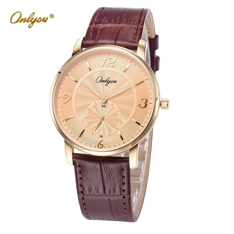 Wrist Watches for Men Onlyou Quartz Analog Men's Gold Watch Black Genuine Leather Strap relogio masculino erkek kol saati 81101 feiwo 8090g alloys plating analog quartz wrist watch for men black golden silver
