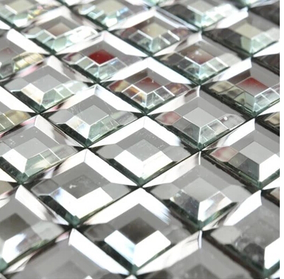 5 Edges Beveled Crystal 30 Mm Diamond Mirror Glass Mosaic