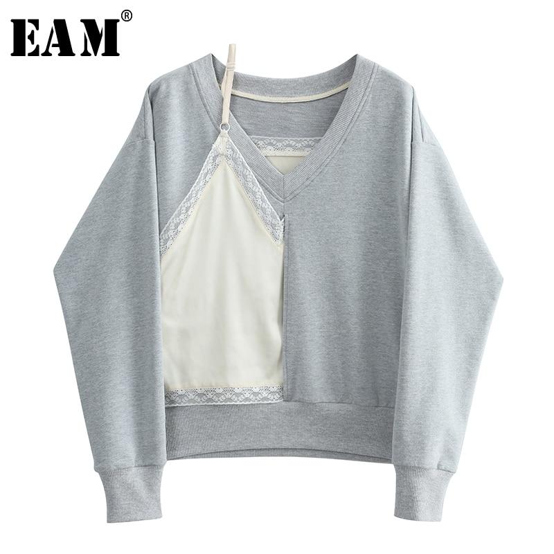 [EAM] 2018 Autumn Summer New Fashion Gray Solid V-neck Sling Lace Stitch Long Sleeve Loose Big Size Women Sweatshirts RA134