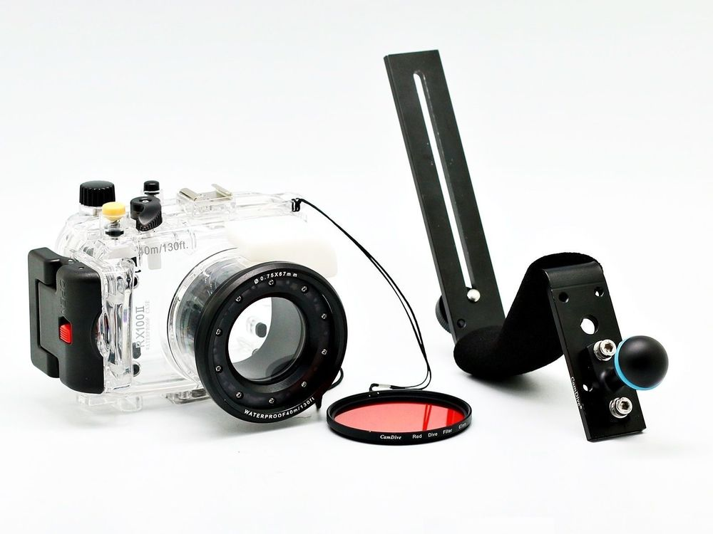 for Sony DSC RX100 II 40m/130ft Meikon Underwater Camera Housing Kit + Aluminum Diving Handle + Red Underwater Filter (wet 67mm