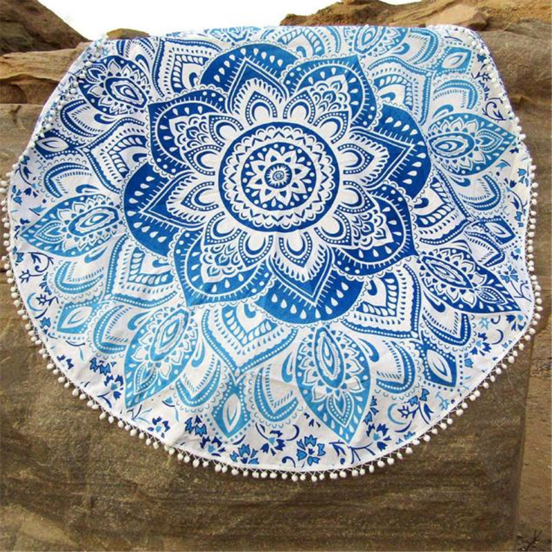 100% New and high quality Round Beach Pool Home Shower Towel Blanket Table Cloth Tablecloth J10