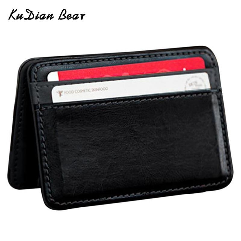 KUDIAN BEAR Minimalist Men Money Clip Wallet Rfid Slim Card Organizer Purse Magic i Clip carteras Minimalista-BID015 PM49