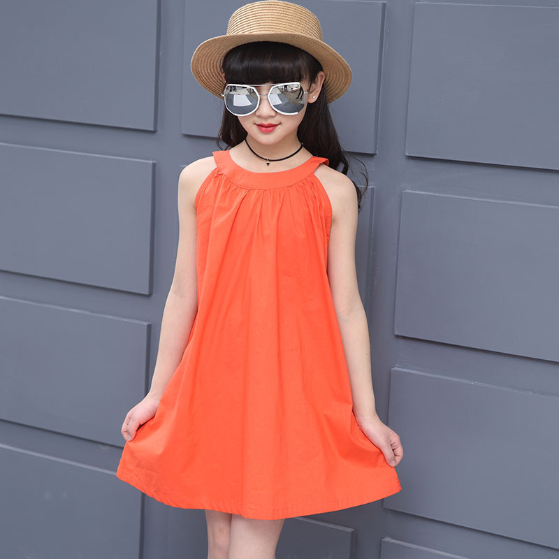 2017 Teenage 12Y 14Y Girls Beach Dress Solid Orange Suspenders 8Y 9Y Children Summer Casual Sleeveless Ruched Sling Cotton Dress
