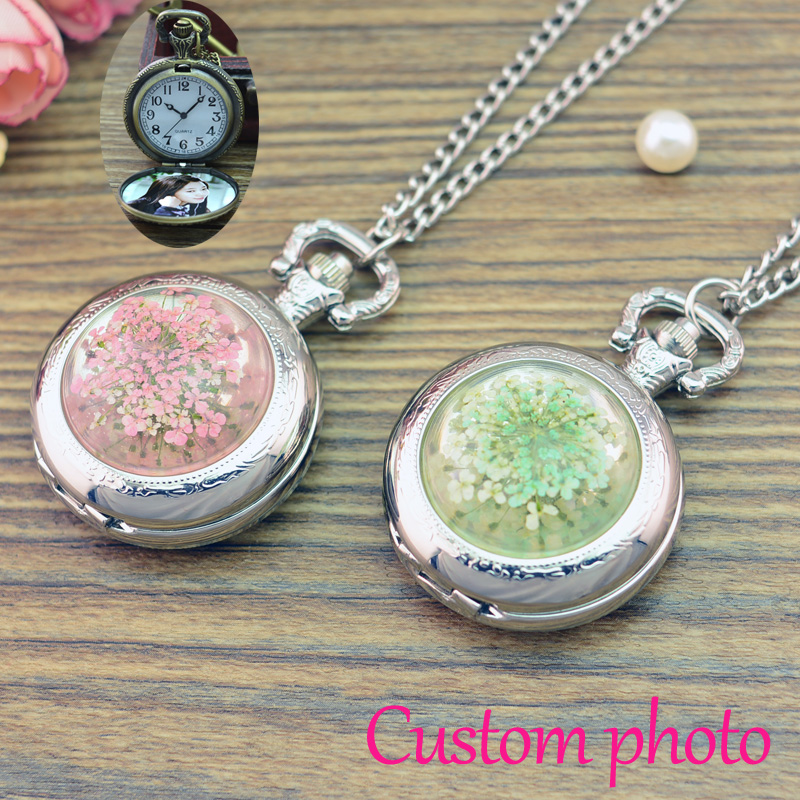 Vintage Silver Color Jewelry Newest Dry Flower Statement Necklace & Pendants Women pocket watch accept Customized photo new necklace 2017 popular drop fine jewelry angel wing charm golden snitch pocket watch men vintage