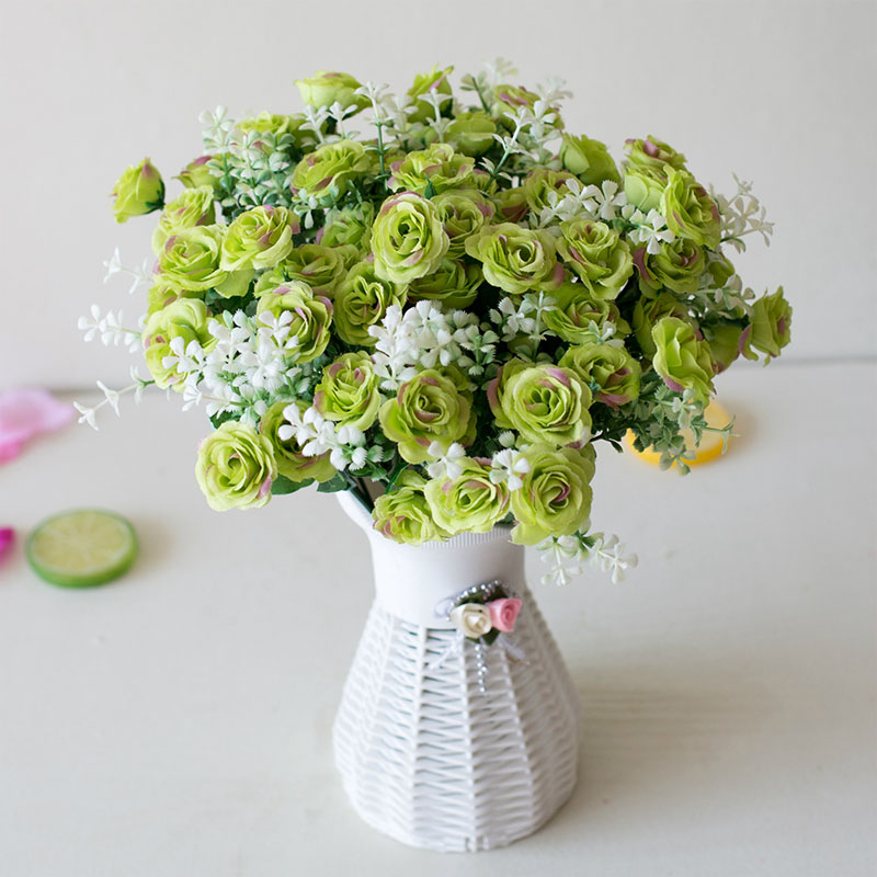 15 Head Mini Roses Artificial Flower With Green Leaves For Living Room And Desk Home 4