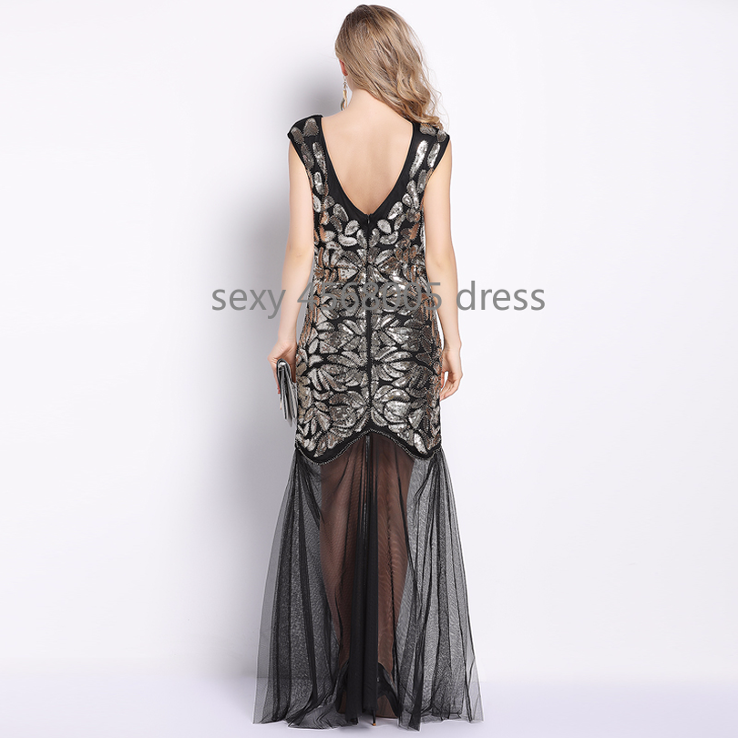 2db7d7da48efe Sequin Fish Tail Maxi Dress O-Neck V Back Sleeveless Mesh Long Celebrity  Party Dress Vestido Embroidery Floral Formal Dress