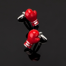 XK150 High quality men's shirts Cufflinks red boxing gloves Cufflinks brand men's clothing accessories glazed craft style
