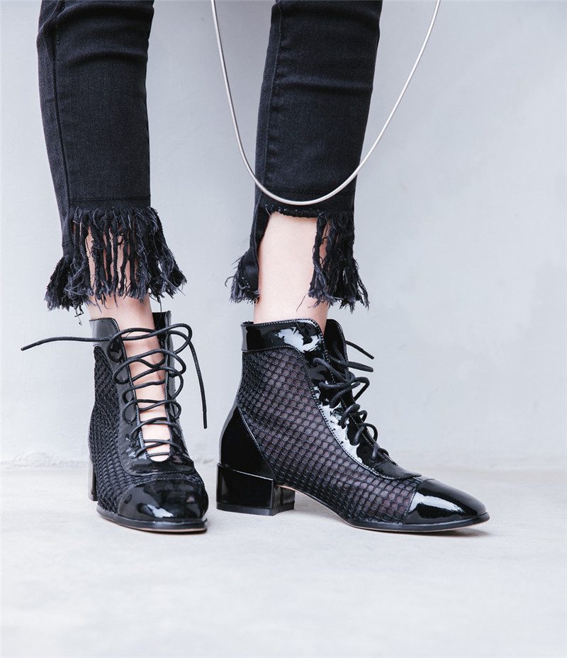 En Botte Femme Ankle Med Chaussures Long Cuir Black Boot Genou Femmes Noir  Bottes D équitation black Maille Haute Croix Liée Talon 2018 Ymechic ... 1cd6865f0ffb