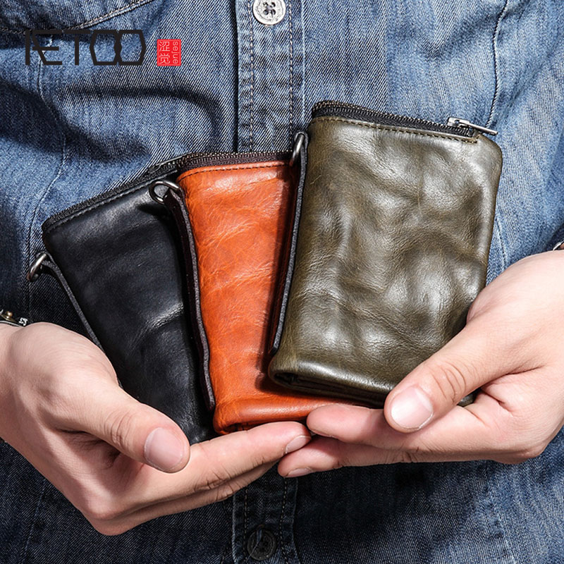 AETOO Short wallet mens leather retro old first layer leather mens wallet youth tide personality vertical zipper walletAETOO Short wallet mens leather retro old first layer leather mens wallet youth tide personality vertical zipper wallet
