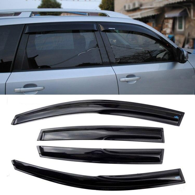 4 pièces fenêtres pare-brise pare-pluie noir pare-soleil déflecteurs pour Subaru Forester 2008