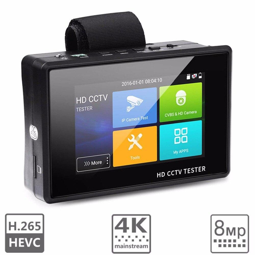 Nouveau 4 pouces H.265 4 K IP Caméra Testeur 8MP TVI 5MP AHD 4MP CVI CVBS Testeur CCTV PTZ Contrôleur rapide ONVIF PING Test