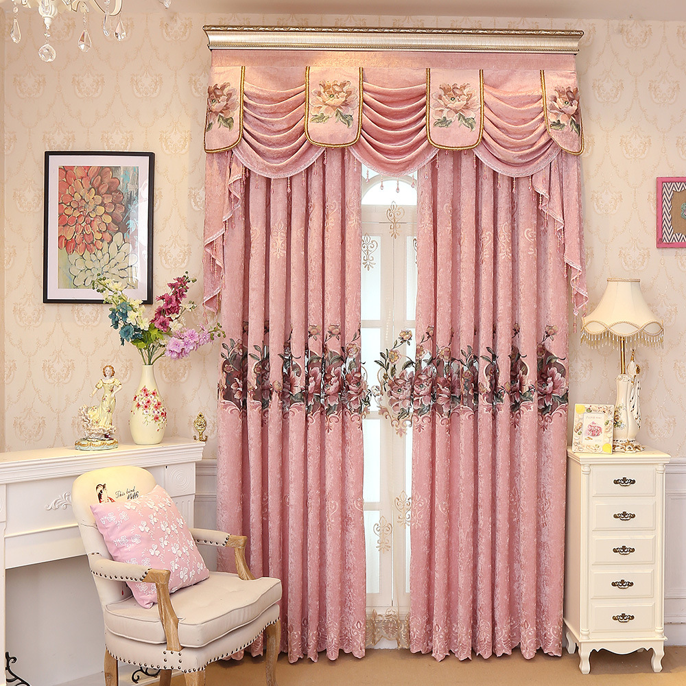 Custom-Made-Luxury-Embroidered-Valance-Decoration-Pink-Cloth-Curtain-For-living-Room-Bedroom-Window-Treatment-Drapes