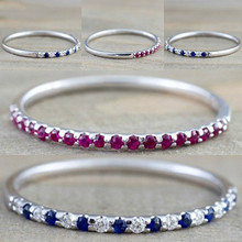 4 Colors Simple Wedding Engagement Band Thin Ring Fashion Cubic Zirconia Rings For Women Blue Crystal Lovers Jewelry
