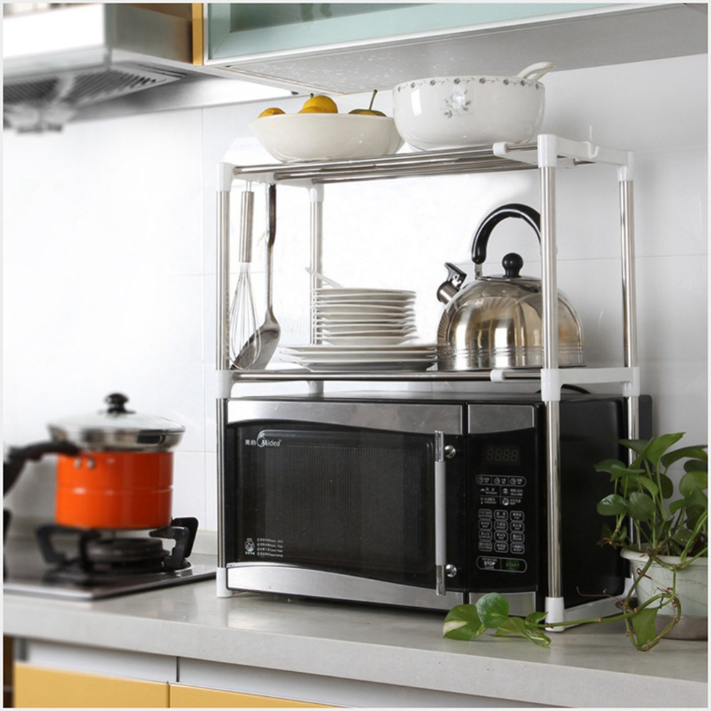 Étagère de Cuisine en Acier inoxydable Réglable Multifonctionnel Four À Micro-ondes Étagère Debout Type Double Cuisine StorageOrganizer