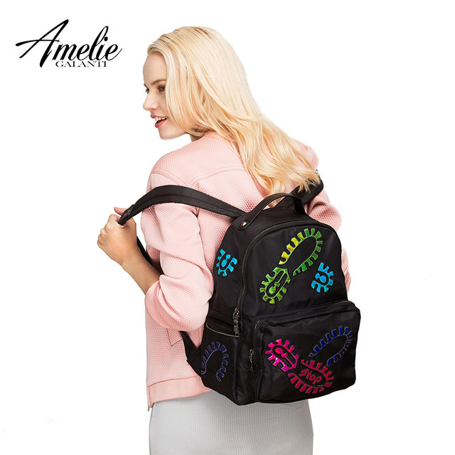 AMELIE GALANTI Fashion Women Backpack Nylon Convenient Women Bag Hard Handle Versatile Thread Air Cushion Belt Softback BackpacK Fashion Backpacks