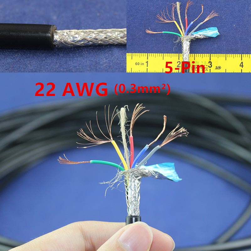 1 Meter Copper Electrical Wire 5 Pin 22 AWG Anti interference ...