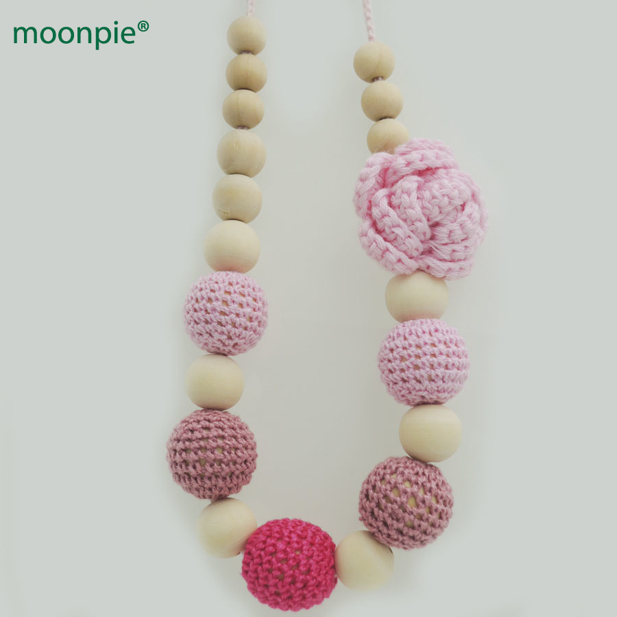 Pink crochet flower nursing necklace fushia gradiat beads breast feeding Jewelry for Mom baby NW1981