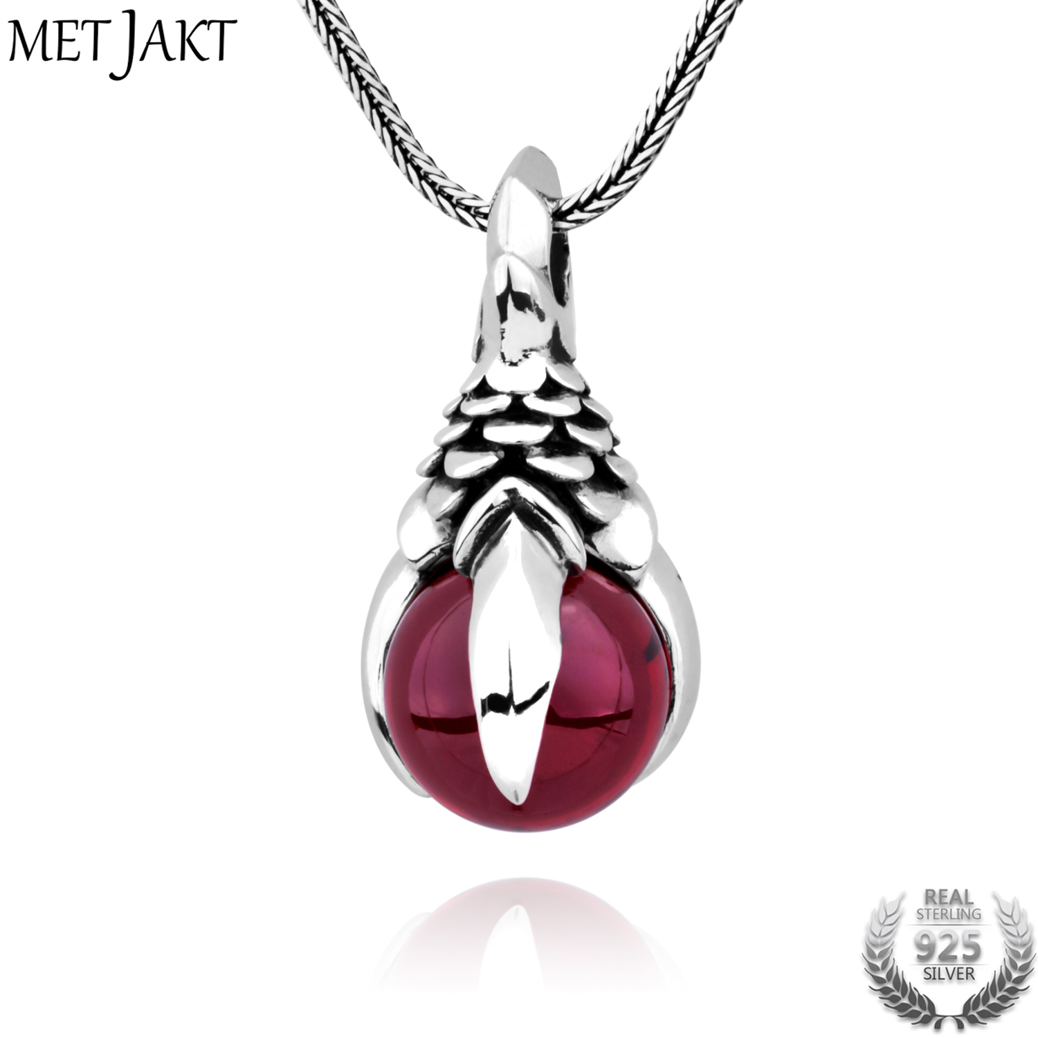 MetJakt Mens Punk Dragon Claw Garnet Pendant Necklace Solid 925 Sterling Silver and Snake Chain Handmade Jewelry