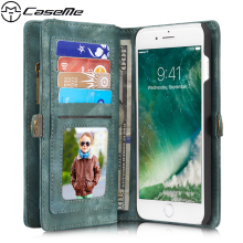For iPhone 7 Plus Case 7Plus Retro Leather Cover Zipper Wallet Multifunction Magnetic Phone Back Cover for Apple iPhone7 Plus