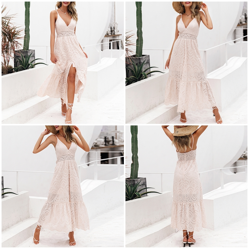 BerryGo White pearls sexy women summer dress 19 Hollow out embroidery maxi cotton dresses Evening party long ladies vestidos 4