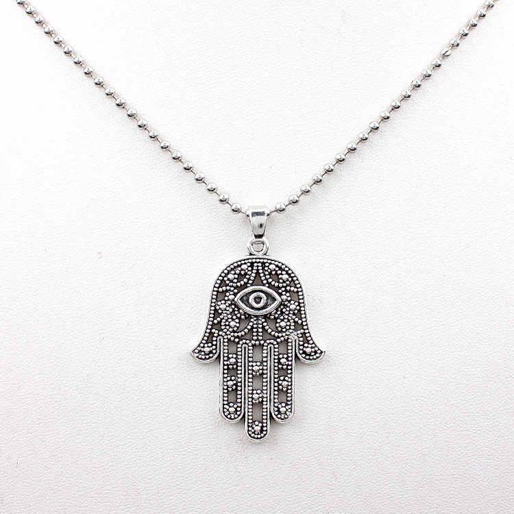 1 pc powodzenia ochrony Symbol ręcznie złe oko srebrny wisiorek koraliki naszyjnik łańcuch stary naszyjnik