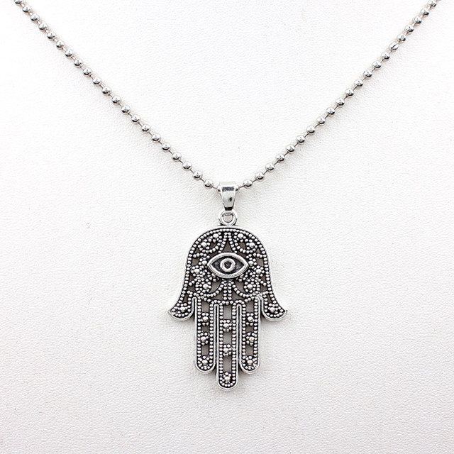 1pc Good Luck Protection Symbol Hand Evil Eye Silver Pendant Beads