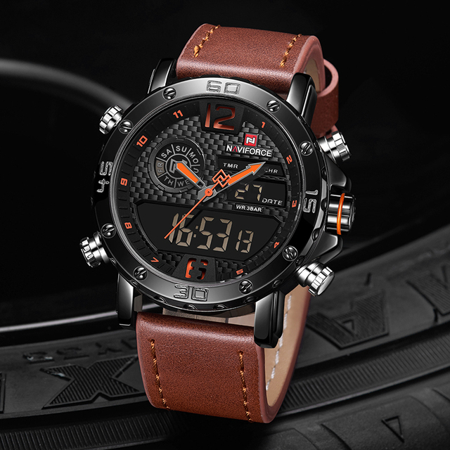 NAVIFORCE To Luxury Brand Mens Watches Men Leather Sports Watches Men's Quartz LED Digital Clock Waterproof Military Wrist Watch
