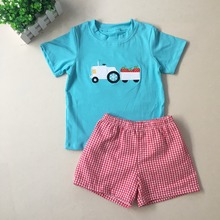 Puresun 2019 New Summer Design Boy Blue Color Tractor Strawbery Applique T-shirt Red Gingham Lined Shorts Children Boutique gingham ruffle trim t shirt