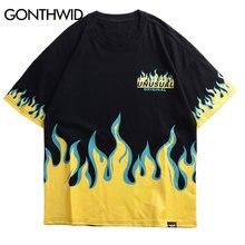 GONTHWID Hip Hop feu flamme imprimé t shirts Streetwear 2019 été hommes décontracté manches courtes t shirts homme mode haut en coton t shirts