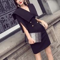 Autumn Vintage Blazer Dress Women Casual Half Sleeve elegant Split Sleeve Black Office Party Dresses Bodycon Short Vestidos 2018