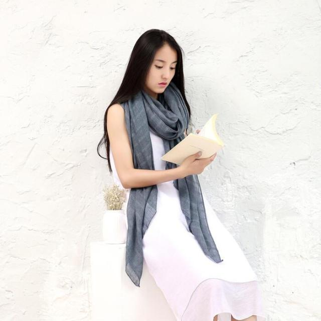 Cotton pure color spring and autumn sunscreen scarf Plaid high - grade monochrome women shawl