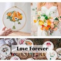 Bouquet de fleurs de broderie Couture Point de croix avec cadre de cerceau pour débutant Swing Art peinture artisanat cadeau de mariage 4