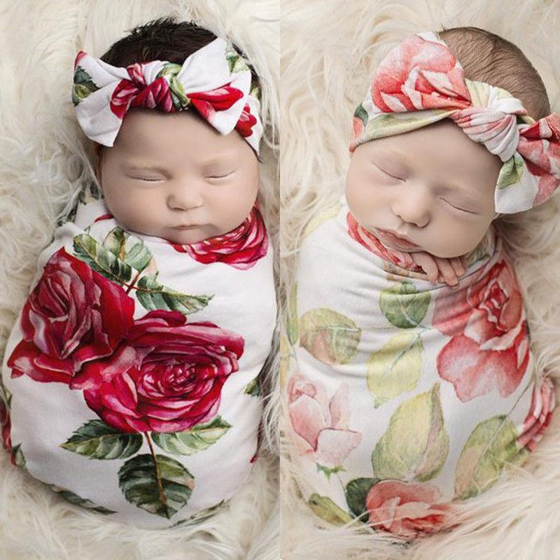 Newborn Photography Prop Baby Blankets Printed Flower Infant Baby Boys Girls Sleeping Cotton Swaddle Muslin Wrap +Headband 2PCS
