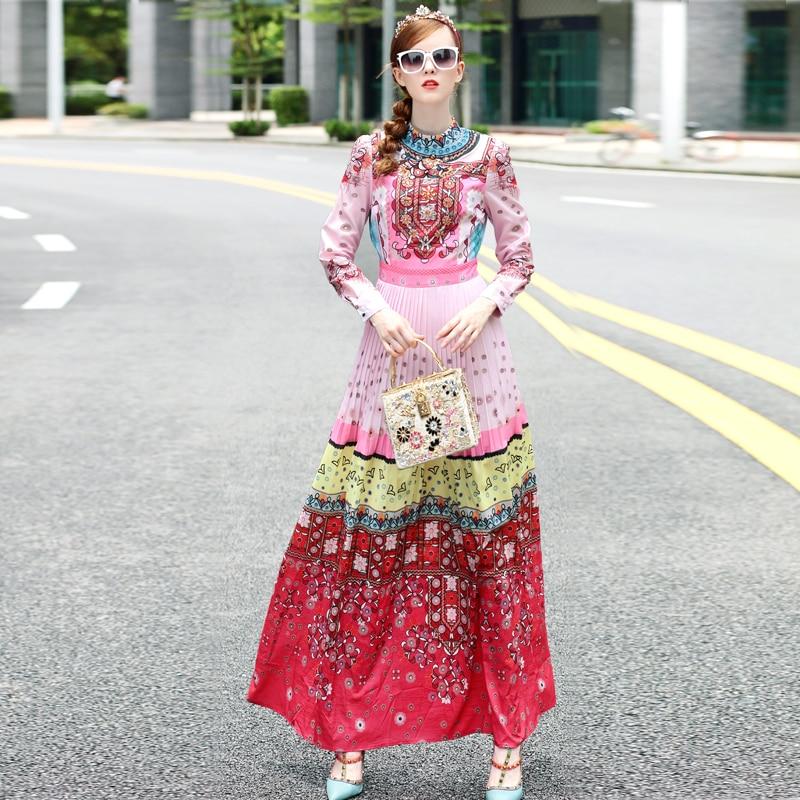 S-3XL haute qualité printemps 2018 piste nouvelles femmes plissée de luxe perlé à la main mode rétro impression robe à manches longues - 2