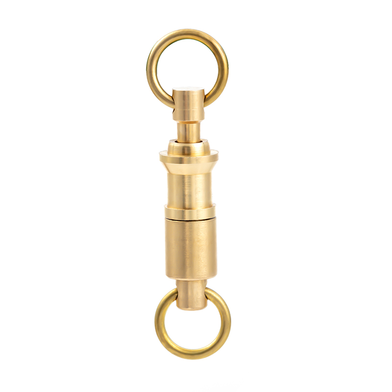 EDC brass keychain detachable key ring can be separated double ring buckle(China)
