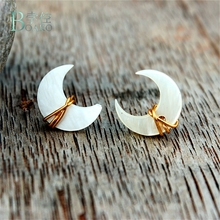 где купить BOAKO Natural Shell Mother of Pearl Dangle Earring White Pearl Shell Moon Drop Shape Jewelry Earrings For Women Drop Shipping B4 по лучшей цене