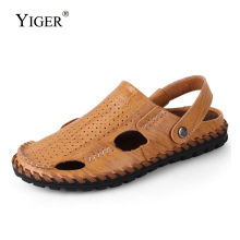 YIGER New Men hole sandals male active summer casual man slippers garden shoes genuine leather non-slip cool 0307
