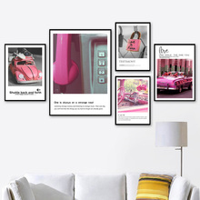Pink Style Car Sea Quote Wall Art Canvas Painting Nordic Posters And Prints Landscape Wall Pictures For Living Room Decor конструктор tong de магический магнит 40 дет t373 d3511