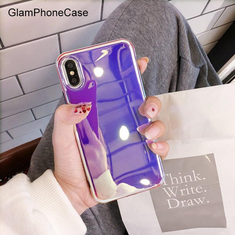 GlamPhoneCase Purple Laser Back Case for iPhone 8 8plus Phone Cover for iPhone 6plus 6s+ 6s 6 7 7PLUS X Mirror Soft Cover